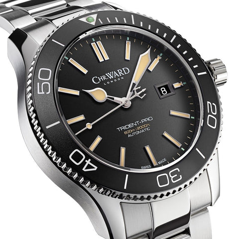christopher ward trident watch with characteristic trident watch hand