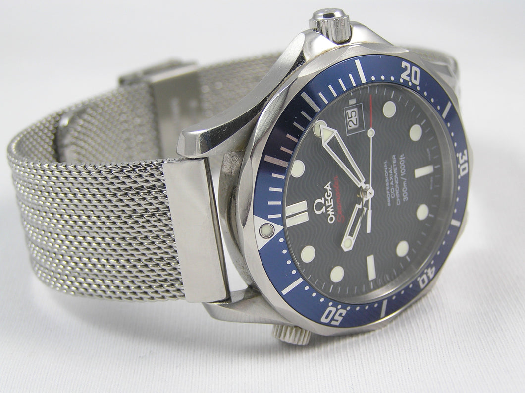 Omega Seamaster on refined steel mesh