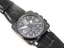 Load image into Gallery viewer, Beautiful Black Handmade leather watch strap for Bell and Ross Watches BR01 BR03 BR05. 24mm.