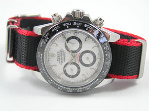 Ultimate Dense Twill Weave NATO® Black Red Edge strap for Tag Heuer Formula One Aqua-Racer Monaco Carrera 20mm (No Watch - Strap Only)