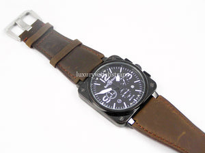 Beautiful Brown Handmade leather watch strap for Bell and Ross Watches BR01 BR03 BR05. 24mm.