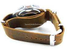 Load image into Gallery viewer, Superb Hand Made Leather brown NATO® watch strap for Tag Heuer Carrera Watch 22mm. Beautiful supple leather. Black and Brown.