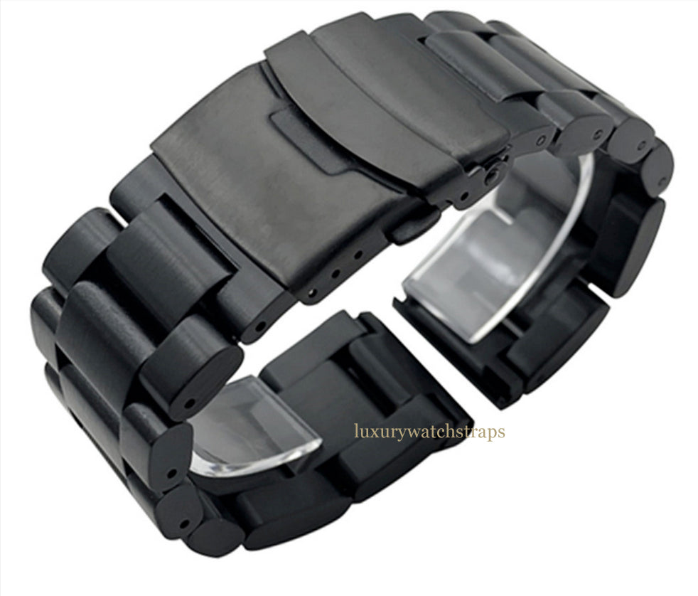 ULTIMATE BLACK PVD HEAVY BLACK STAINLESS STEEL STRAP FOR ALL 22mm 24mm 26mm WATCHES