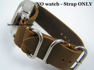 Superb hand made leather brown Zulu watch strap for Panerai PAM RXW Marina Militare Watch Watches 24mm