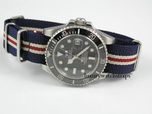 Superb ballistic nylon G10 Nato® watch strap for OMEGA Seamaster Speedmaster watches. RAF (Light) & Royal (Dark) Dark Blue.