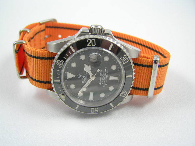 Superb orange / Black ballistic nylon Nato® watch strap for Rolex Submariner GMT Yachtmaster watches