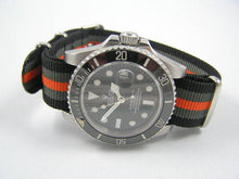 Load image into Gallery viewer, Superb orange / Black ballistic nylon Nato® watch strap for Rolex Submariner GMT Yachtmaster watches