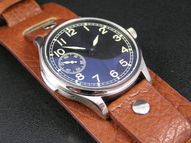 Superb vintage soft leather bund strap for Breitling, Omega, Bell & Ross, Pilots, Divers Watch 22mm Black and Brown (NO Watch)