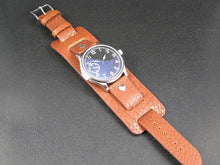 Load image into Gallery viewer, Superb vintage soft leather bund strap for Breitling, Omega, Bell & Ross, Pilots, Divers Watch 22mm Black and Brown (NO Watch)