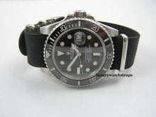 Load image into Gallery viewer, Superb handmade black leather Nato® watch strap for Rolex Submariner GMT Yachtmaster watches