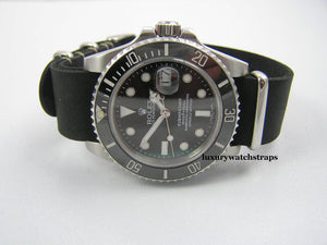 Superb handmade black leather Nato® watch strap for Rolex Submariner GMT Yachtmaster watches