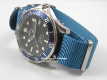 Load image into Gallery viewer, Superb ballistic nylon G10 Nato® watch strap for OMEGA Seamaster Speedmaster watches. RAF (Light) & Royal (Dark) Dark Blue.