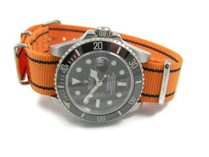 Superb Orange / Black ballistic nylon Nato® watch strap for Rolex Sea Dweller Submariner GMT Yachtmaster watches