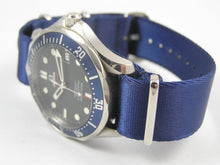 Load image into Gallery viewer, Ultimate Dense Weave BLUE NATO® Spectre Bond strap for Omega Seamaster Speedmaster Planet Ocean 20mm