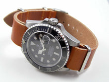 Load image into Gallery viewer, Superb Blue handmade leather Nato® watch strap for Omega Seamaster watch (Black Brown Green avail. as well) NO watch.