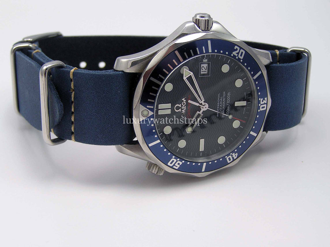 Superb Blue handmade leather Nato® watch strap for Omega Seamaster watch (Black Brown Green avail. as well) NO watch.