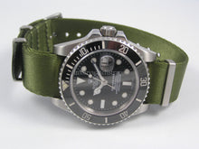 Load image into Gallery viewer, Military Green Dense Twill Weave NATO® rope edge strap for Rolex Submariner Yacht-Master GMT Daytona Deepsea 20mm (No Watch - Strap Only)