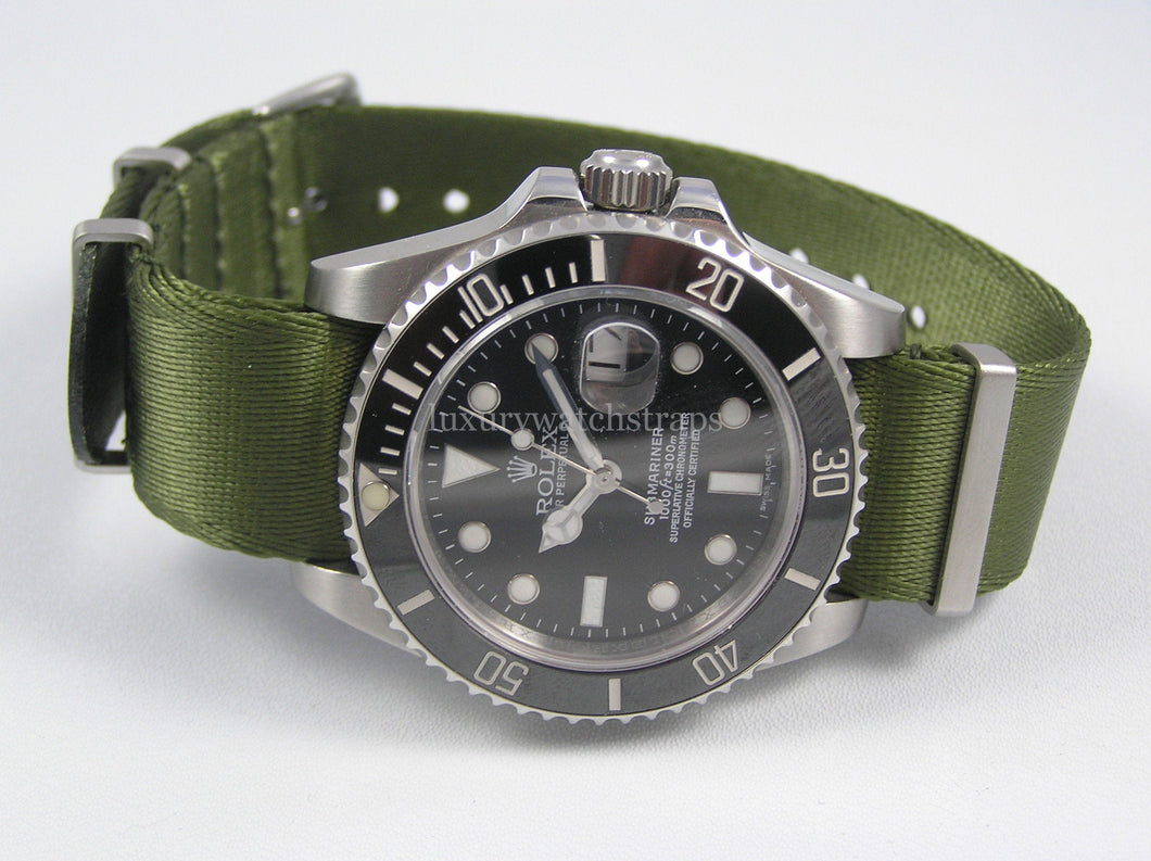 Military Green Dense Twill Weave NATO® rope edge strap for Rolex Submariner Yacht-Master GMT Daytona Deepsea 20mm (No Watch - Strap Only)
