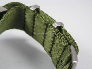 Military Green Dense Twill Weave NATO® rope edge strap for luxury Swiss watches 22mm (No Watch - Strap Only)