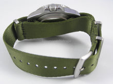 Load image into Gallery viewer, Military Green Dense Twill Weave NATO® rope edge strap for luxury Swiss watches 22mm (No Watch - Strap Only)