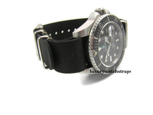 Superb hand made leather black  Nato®watch strap for Omega Planet Ocean 22mm