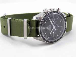 Ultimate Dense Twill™ Weave NATO® strap for Omega Speedmaster Moon Watch 20mm Military Green (NO watch. STRAP only)
