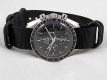Load image into Gallery viewer, Black Ballistic nylon Zulu G10 Nato® strap for Omega Speedmaster Seamaster Planet Ocean 18mm 20mm 22mm NO WATCH