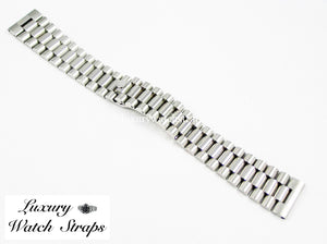 Solid stainless steel President Bracelet for Breitling  20mm & 22mm watches. Straight End Links. Superb quality. Features screw links.