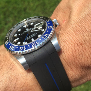 Custom made high grade vulcanised rubber watch strap for Rolex Submariner GMT Oyster Perpetual Deep Sea 20mm