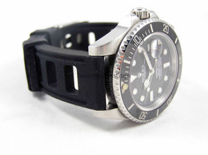 Ultimate high grade silicone black rubber watch strap for Rolex Submariner Watch 20mm
