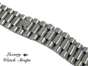 Solid stainless steel President Bracelet for Longines 20mm & 22mm watches. Straight End Links. Superb quality. Features screw links.