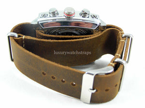 Superb Hand Made Leather brown NATO® watch strap for Tag Heuer Monaco Watch 22mm. Beautiful supple leather.