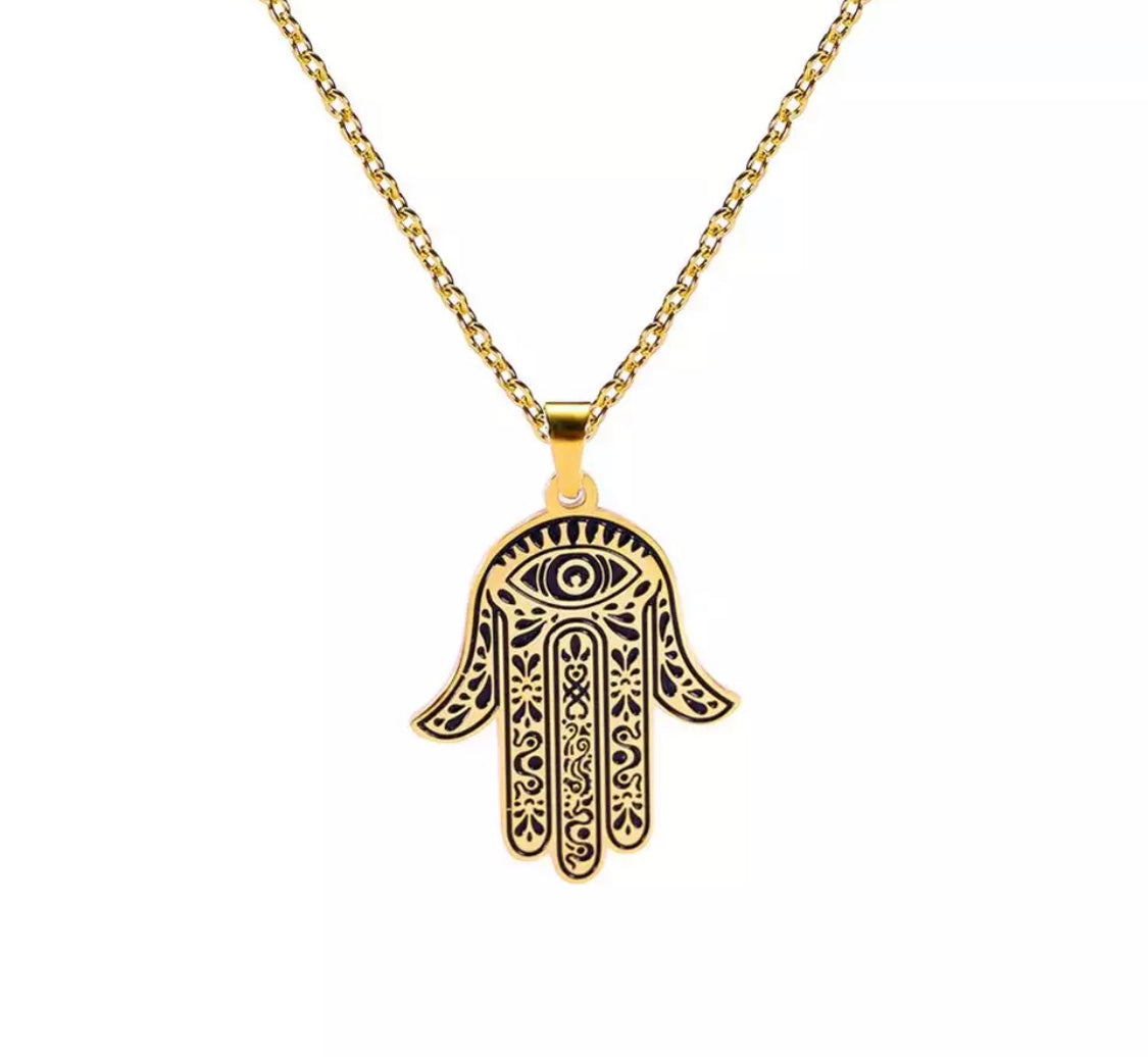 Hamsa Hand Evil Eye Pendant Necklace - 716 Microblading & Beauty