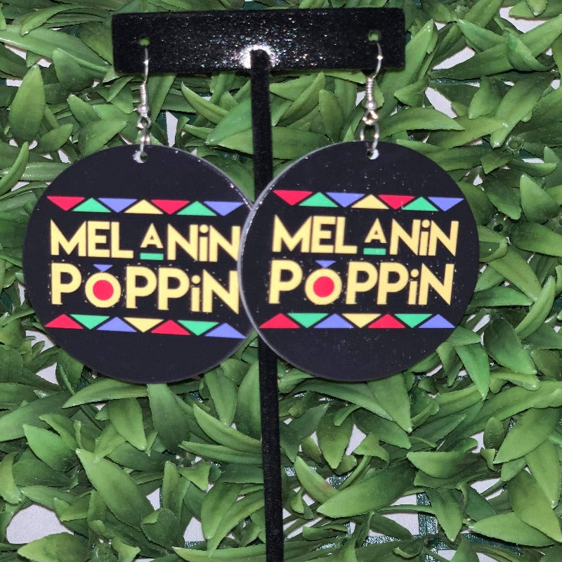 """Melanin Poppin"" wooden earrings - 716 Microblading & Beauty"
