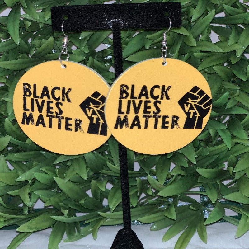 Black Lives Matter yellow wooden earrings - 716 Microblading & Beauty