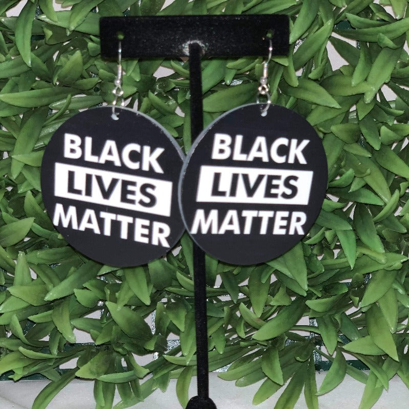 "Black lives matter ""Simple"" wooden statement earrings - 716 Microblading & Beauty"
