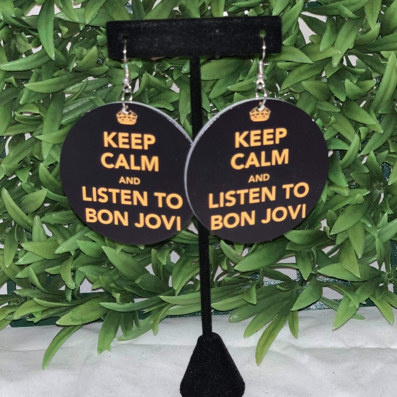 Keep Calm And Listen wooden Earrings - 716 Microblading & Beauty