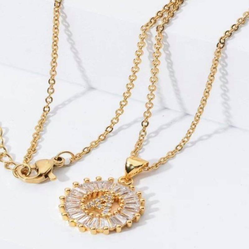 "Letters ""Initial"" Crystal gold pendant necklaces for women - 716 Microblading & Beauty"