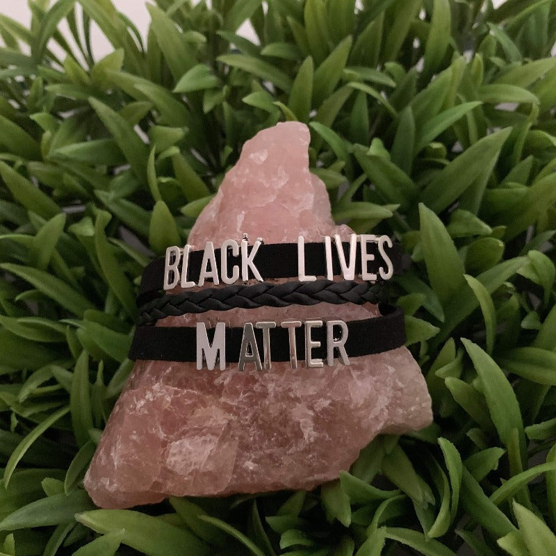 Black Lives Matter Simply Said faux leather braided Bracelet - 716 Microblading & Beauty