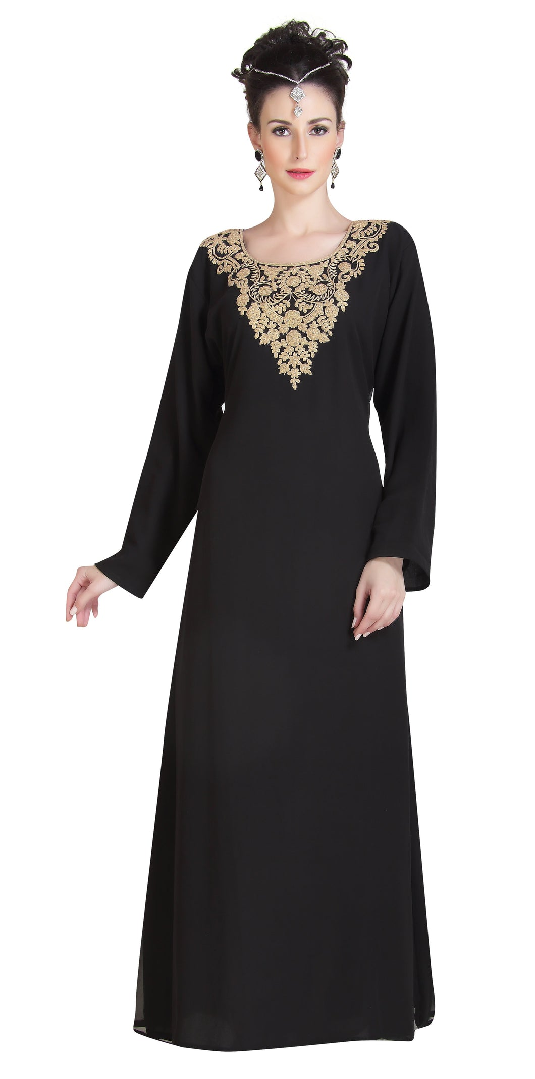 Black Beautiful Farasha With Golden Work Embroidery For Bulk Buy