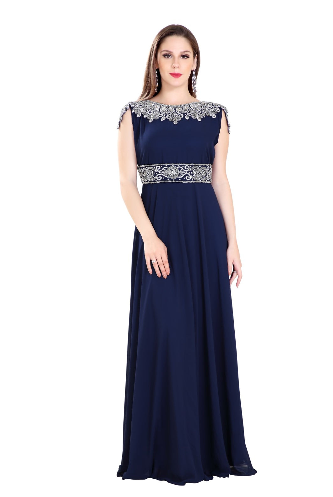 Rhinestone Customized Dubai Fustan Tea Party Evening Dress
