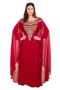 Traditional Dubai Kaftan Crystal Beaded Ladies Khaleeji Thobe