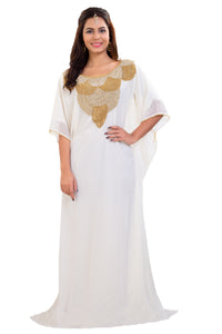 Cream Maxi Dress Traditonal Kaftan For Bulk Purchase