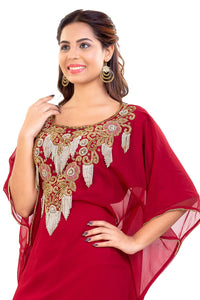 Traditional African Kaftan Hand Embroidered Moroccan Takchita