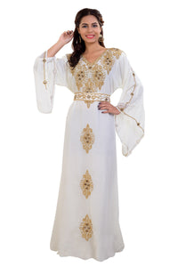 Traditional Persian Kaftan Hand Embroidered Jalabiya Maxi