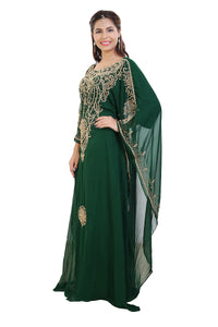 Maghribi Kaftan Rhinestone Customized Khaleeji Thobe Wedding Gown