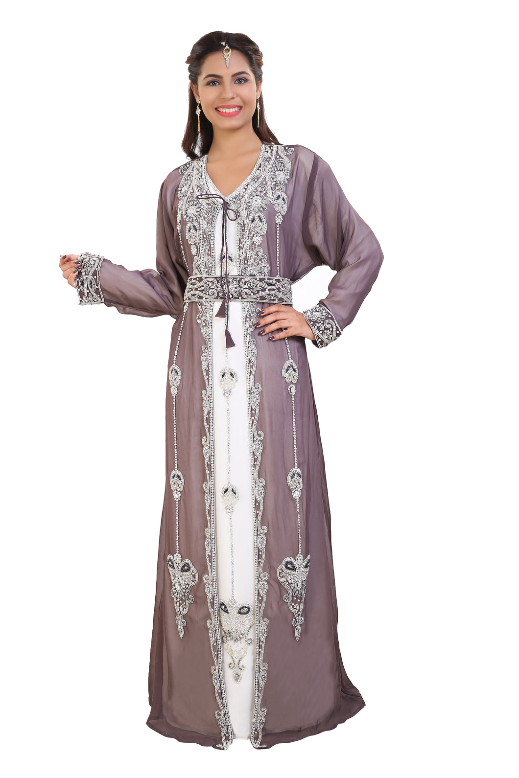 Tunisian Cultural Walima Gown Hand Embroidered Moroccan Caftan