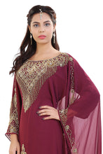 Load image into Gallery viewer, Hand Embroidered Dubai Farasha Maghribi Kaftan Kurdish Dress