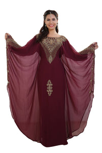 Hand Embroidered Dubai Farasha Maghribi Kaftan Kurdish Dress