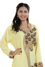 Load image into Gallery viewer, Traditional Algerian Kaftan Hand Embroidered Arabic Dress